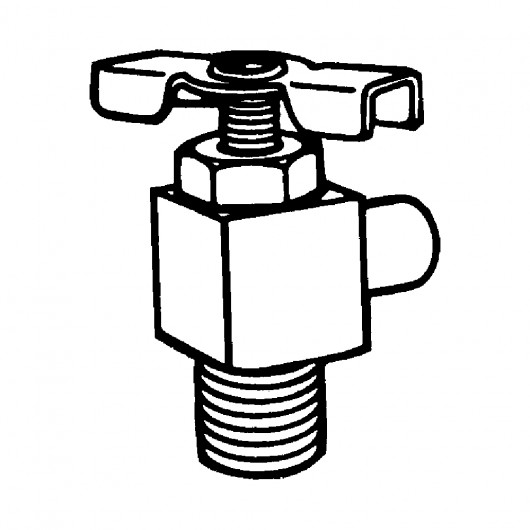 "3/8"" x 1/8"" Drain Cock Needle Seat 90° -With Hose Bib"