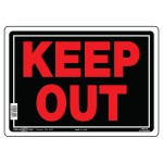 """10"""" x 14"""" KEEP OUT Aluminum - Sign in Red and Black"""