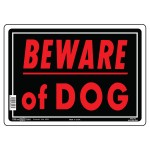 """10"""" x 14"""" BEWARE OF DOG - Aluminum Sign in Red and Black"""