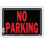 """10"""" x 14"""" NO PARKING - Aluminum Sign in Red and Black"""