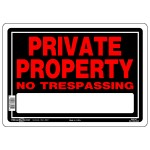 """10"""" x 14"""" PRIVATE PROPERTY NO TRESPASSING - Aluminum Sign in Red and Black"""