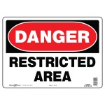 """10"""" x 14"""" DANGER RESTRICTED AREA - Aluminum Sign in Red and Black"""