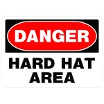 """10"""" x 14"""" DANGER HARD HAT AREA - Aluminum Sign in Red and Black"""