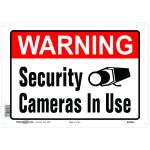 """10"""" x 14"""" WARNING SECURITY CAMERAS IN USE - Aluminum Sign in Red and Black"""