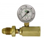 M. POL x F. POL Pressure Gauge Adaptor & Test Block with 0 - 300 psig Gauge