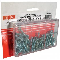 Round Head Garage Assortment: 130 Round Head Combination Square/Slotted Zinc Plated Machine Screws (various sizes) and 45 Zinc Plated Hex Nuts.