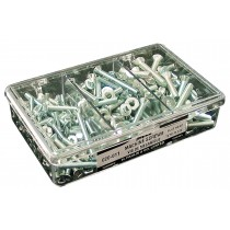 Flat Head Garage Assortment: 130 Flat Head Combination Square/Slotted Zinc Plated Machine Screws (various sizes) and 45 Zinc Plated Hex Nuts.