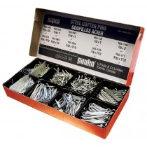 "Cotter Pins Utility Assortment: 195 Large size bright plated pins in 9 sizes ranging from 5/32"" x 2"" to 3/8"" x 3""."
