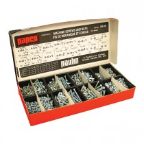 "Round Head Square Drive Utility Assortment: 320 Round Head Machine Screws and Nuts. 16 sizes from 4-40 x 1/2"" to 10-32 x 1-1/2""."