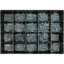 Steel Wood Screw Master Assortment: Contains 850 Flat & Round Head - Socket Screws