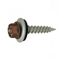 "10 x 1 1/2"" Self-Sealing Roofing / Siding Screw - Brown Coloured"