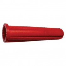 "No. 8 -10 x 7/8"" Red Plastic Conical Wall Anchor"