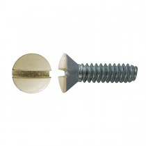 "6 - 32 x 1/2"" Oval Head Slot Switch Plate Screw - Ivory - Zinc Plated"