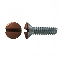 "6-32 x 1/2"" Oval Head Slot Switch Plate Screw-Brown-Zinc Plated"