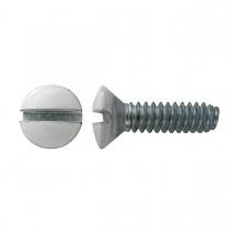 "6-32 x 1/2"" Oval Head Slot Switch Plate Screw-White-Zinc Plated"