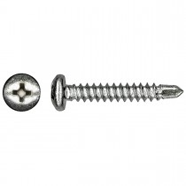 "10 x 3/4"" 410 Stainless Steel Pan Phillips Drill-X Screw"