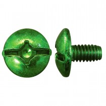 "8-32 x 5/16"" Truss Head Square/Slotted  Type 'A' Grounding Screw-Zinc Plated-Green"