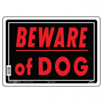 "10"" x 14"" BEWARE OF DOG - Aluminum Sign in Red and Black"