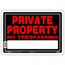 "10"" x 14"" PRIVATE PROPERTY NO TRESPASSING - Aluminum Sign in Red and Black"