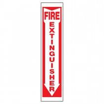 """4"""" x 18"""" Aluminum Fire Extinguisher Sign in Red and White"""