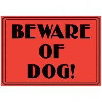 """10"""" x 14"""" BEWARE OF DOG - Aluminum-Vinyl Vintage Sign in Red and Black"""