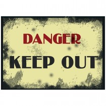 "10"" x 14"" KEEP OUT - Aluminum-Vinyl Vintage Sign in Red, Yellow and Black"