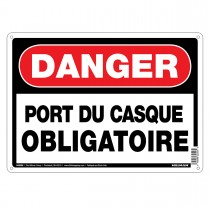"10"" x 14"" DANGER PORT DU CASQUE - Aluminum French Sign in Red and Black"