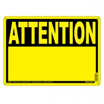"""10"""" x 14"""" ATTENTION - Aluminum French Sign in Yellow and Black"""