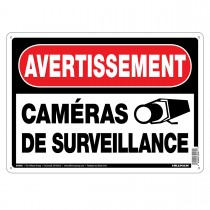 "10"" x 14"" AVERTISSEMENT CAMERA DE SECURITE - Aluminum French Sign in Red and Black"